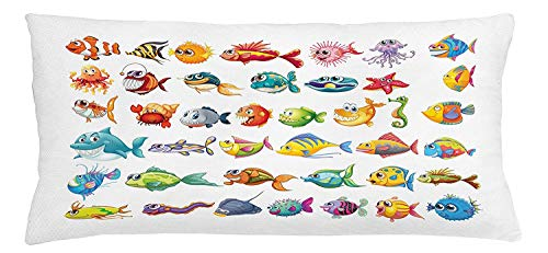 Trsdshorts Fish Throw Pillow Cushion Cover, Collection of Sea Creatures Nursery Cartoon Style Vivid Colors Happy Fish Abstract, Decorative Square Accent Pillow Case, 18 X 18 Inches