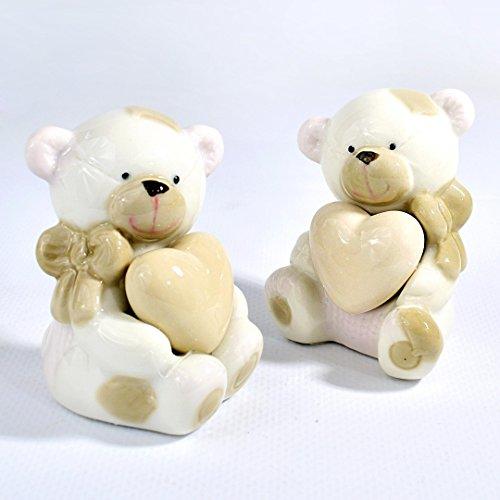 Albalù italia bomboniere set 3 pezzi - nascita battesimo bambina orsetto in ceramica piccolo