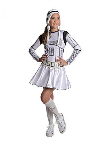 Stormtrooper Kostüm für Mädchen Star Wars Strumtruppen Mädchenkostüm Gr. 104 - 134, Größe:S