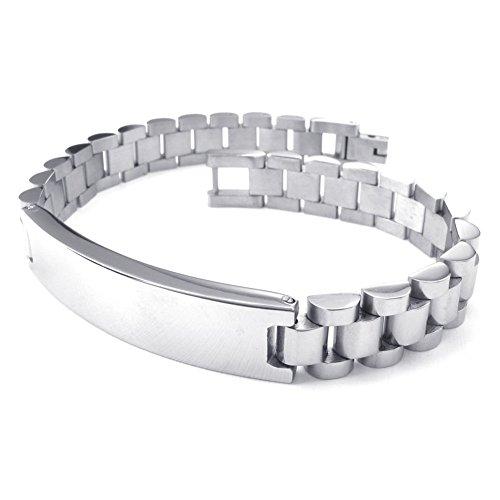 TEMEGO Jewelry Men's Stainless Steel Bracelet,Watch Band Wrist Bangle Bracelet,8.26 Inch,Silver