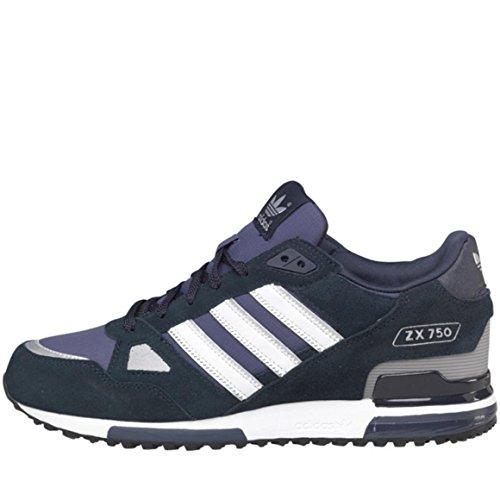 adidas Originals ZX 750 Herren Sneaker aus Wildleder, Marineblau/Weiß, Blau - Marineblau/Weiß - Größe: 43 1/3 EU