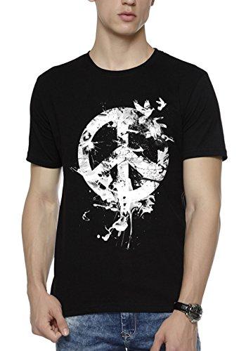 WYO Men's Cotton Causal Half Sleeve Round Neck Printed T-Shirt(Peace Bird, Medium, Black)