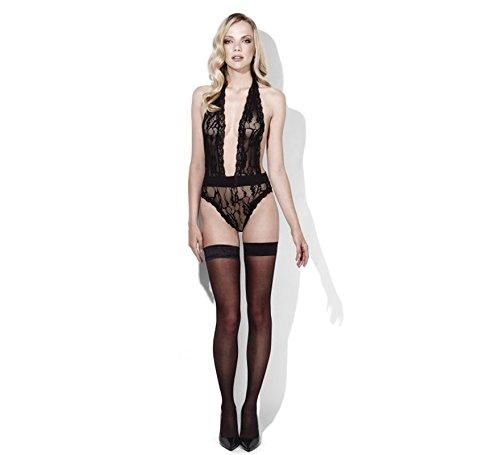 Smiffys 42826S-M - Fever Mitternachts Temptation Lace Neckholder - Black Lace Bodysuit Kostüm