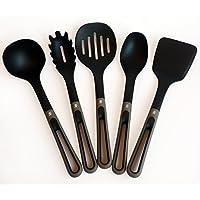 Z&Y - Set di Utensili da Cucina 5 Pezzi - Nylon & Soft-Touch - Nero e Grigio