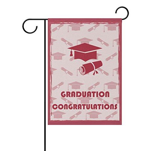 Duble Sided rot Gard Congratulations Graduation Cap Diplom Graduation Saison Polyester HAUS/Garten Flagge Banner 12x 18/71,1x 101,6cm für Hochzeit Party alle Wetter, Gesponnenes Polyester, multi, 28x40