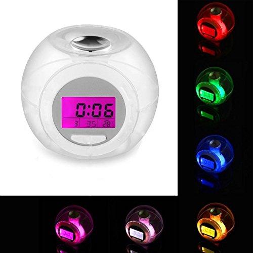 7Farben Farbwechsel Wecker, mamum Wake Up Licht Uhr für Kinder Kind Kleinkind Erwachsene 7Farben wechseln Alarm Uhr