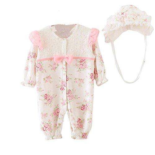 Bekleidung Longra Säugling neugeborenes Mädchen Baby Mütze Hüte + Strampler Bodysuit Playsuit Kleidung Set(0-18 Monate) (60CM 3-6Monate, White)