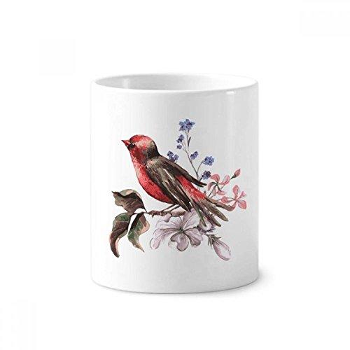 DIYthinker Zweig Vögel Blumen-Keramik-Zahnbürste Stifthalter Tasse Weiß Cup 350ml Geschenk 9.6cm x 8.2cm hoch Durchmesser Zweig Cup