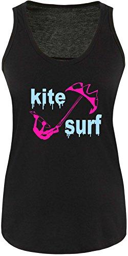 EZYshirt® Kite Surf Damen Tanktop Schwarz/Pink/Hellbl