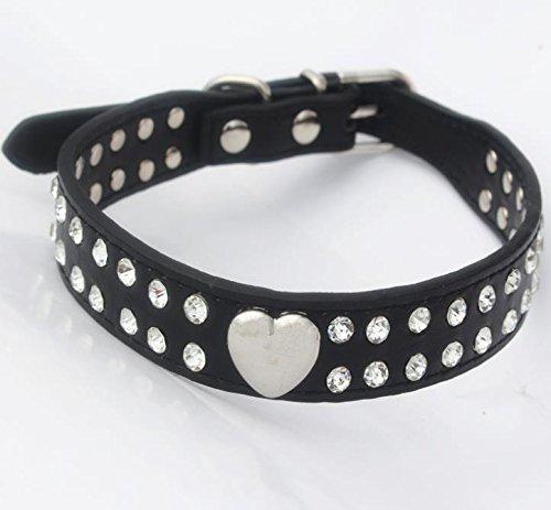 Hippolo Hundehalsband, glitzernd, Herz-Design, Leder, für kleine und mittelgroße Rassen, verschiedene Farben schwarz M (Herz-dog Harness)