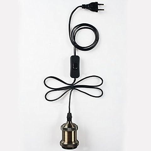 Splink Lámpara Colgante Casquillo de Bombilla Cobre E27 con el interruptor Cable 3 metro Decoración para la casa Café Bar