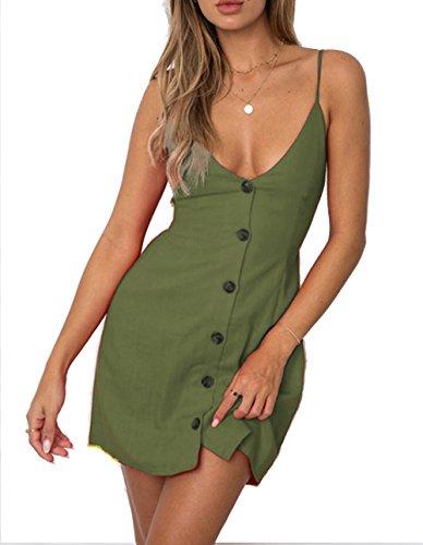 The Aron ONE Damen Sommerkleid Sexy Tief V-Ausschnitt Button Spaghetti-Bügel Rückenfrei Ärmellos Strandkleid Kurz Mini Lässiges Kleid (Armeegrün, Medium)