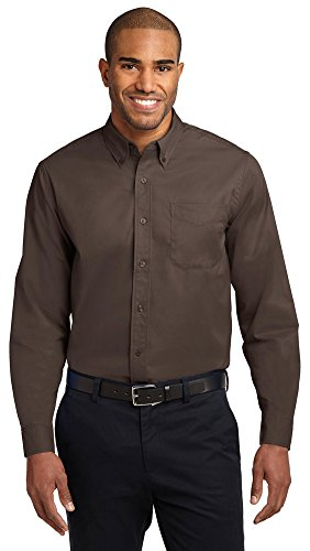Port Authority Herren Long Sleeve Easy Care Shirt Coffee Bean/ Light Stone