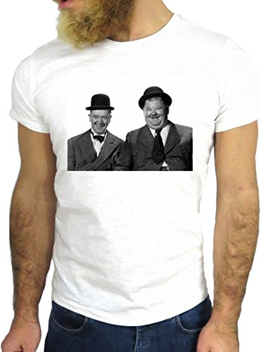 T SHIRT JODE LAUREL Z2815 HARDY ACTOR FUNNY HOLLYWOOD VINTAGE NICE COOL GGG24 BIANCA - WHITE