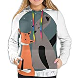 Women's Hoodies Tops,Bear And Fox in Love Valentines Counting Night Stars Animal Print,Hoodie Sweatshirt Apparel for Women,Lady, Teens And Girls,Size:S