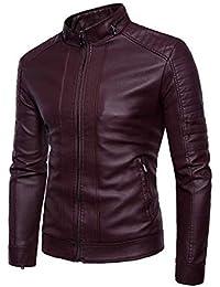 free shipping 3b35a 5f4cf Amazon.it: giubbotto ecopelle uomo - Rosso / Uomo: Abbigliamento