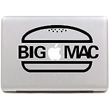 """Vati hojas desprendibles del monograma BIG MAC del vinilo de la etiqueta engomada de la piel de Arte Negro para Apple Macbook Pro Aire Mac de 13 pulgadas """"15"""" / 13 Unibody 15 """"pulgadas portátil"""