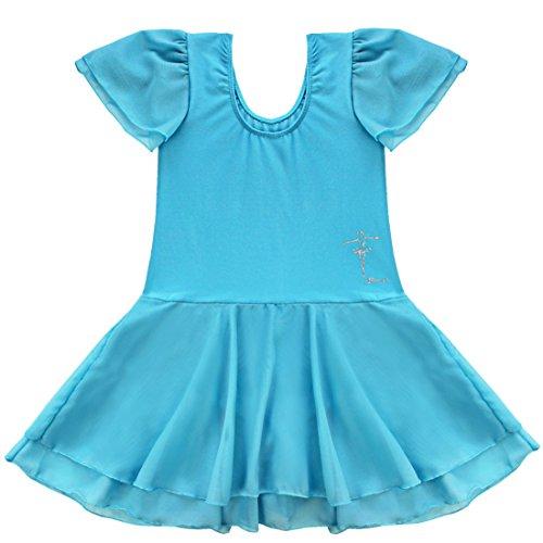 Tiaobug Kinder Mädchen Kurzarm Ballettkleid Ballettanzug Turnanzug mit Röckchen Blau 110-116 (Tanzschule Kostüm)