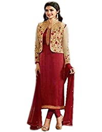 Ethnic Wings Women Georgette Anarkali Semi-Stitched Salwar Suit (EW& ET_ER10729_Red_Free Size)