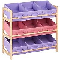 Hartleys Unité de Rangement 3 Niveau Avec 9 Boites en Toile - Rose & Violet