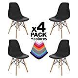 Duehome Tower Wood - Pack de 4 sillas nordicas, Negro, 58 x 47 x 81 cm