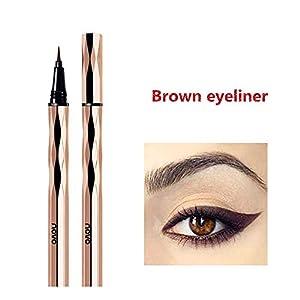 Delineador de ojos a prueba de agua, delineador líquido marrón, resistente al agua, antiincrustante, delineador líquido de larga duración