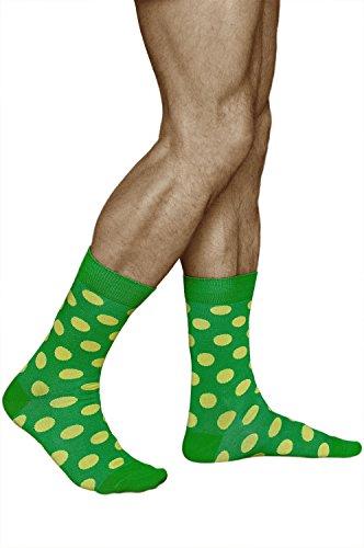 vitsocks Calcetines Verdes con Puntos Amarillos Hombre ALGODÓN Funky Lunares, Joy, 39-42