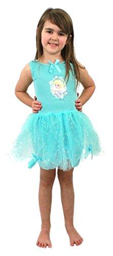 Girl 's Disney Frozen Elsa Kostüm Childs Fancy Dress Blue Tutu Kleid mit Elsa & Anna Motiv Film Charakter 3-5Jahre (Elsa Und Anna Tutu Kostüm)