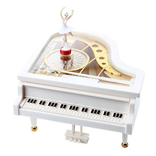 REFURBISHHOUSE Carillon Music Box Music Box Grand Piano Weiss Ballerina New Glockenspiel Music Box