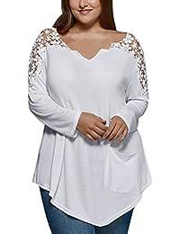 LuckyGirls ❤ ❤ Mujeres Camiseta Manga Larga V-Cuello Encaje Blusa Color Sólido Tops Tallas Grandes…