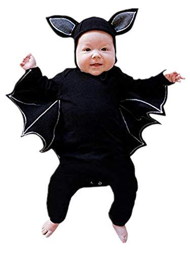 SUMTTER Baby Strampler Neugeborenes Baby Jungen Mädchen Halloween Cosplay Kostüm Fledermaus Strampler + Hut Outfits Set/Kürbis Strampler mit Kapuze (Schwarz, 12-18 Monate / 90)