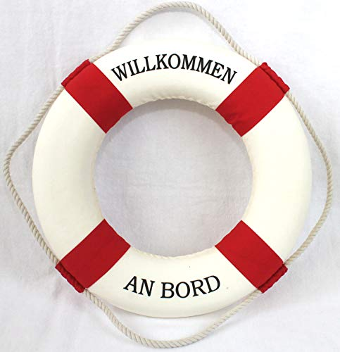 Rettungsring 35cm rot-weiss zur Dekoration Aufschrift Willkommen an Bord