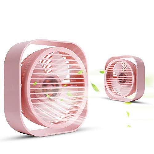 PNCS Standventilator Desktop USB Mini Handheld Kleiner Ventilator Erwachsenes Kind Geeignet für Büro Schlafzimmer,pink,Adapter -