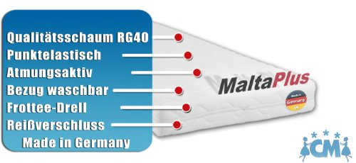 Kindermatratze MALTA PLUS. Hochwertige Matratze für Kinderbett 90 x 190 cm. Atmungsaktive Schaumstoffmatratze mit Frotteebezug 90x190 cm (Kinderbett Und Matratze)