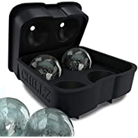 Chillz Ice Ball Maker Mould - Black Flexible Silicone Ice Cube Tray - Molds 4 X 4.5cm Round Ice Ball Spheres - Best for Whiskey, Highball, Cocktail or Liqueur Glasses (1 Pack)