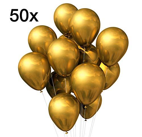 TK Gruppe Timo Klingler 50x Luftballons Gold Ø 35 cm - Helium geeignet für Geburtstag & Hochzeit & Party metallic Deko Dekoration zur Befüllung mit Ballongas (Gold)