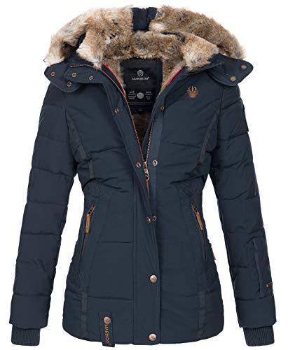 Marikoo warme Damen Winter Jacke Winterjacke Steppjacke gefüttert Kunstfell B658 [B658-Nek-Navy-Gr.XXL]