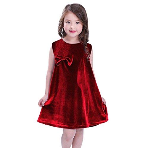 Longra Baby Kleider Festliche Kinderkleider Feste Bowknot ärmelloses Kleid Mädchen Kleider Samt Kleid Elegante Kleider Partykleider Cocktailkleid Knielang Sommerkleider (Red, 80CM 12Monate) (Shirt Velours-knit)