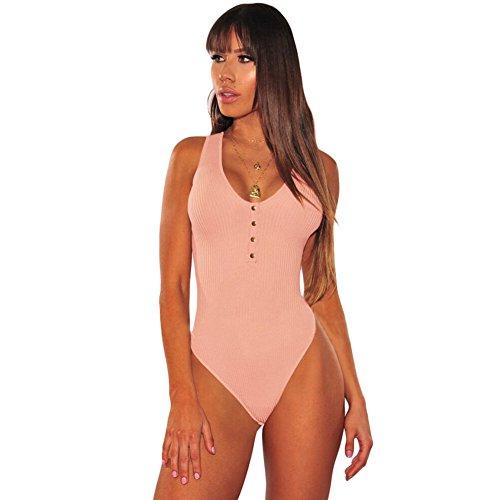 Sexy Dessous Siamese Pyjamas Europa Und Die Vereinigten Staaten Sommer Sexy Rundhals Knopf Ärmelloses Stricken Enge Fitting 32216AprikoseM
