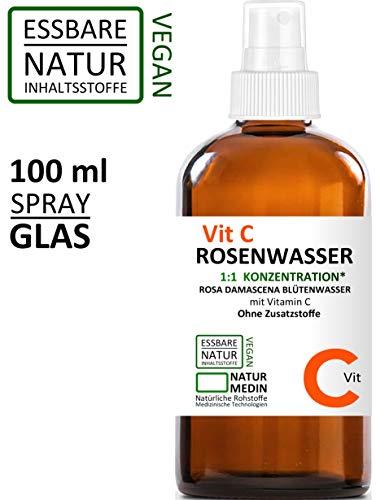 Vitamin C ROSENWASSER 100-ml bio vegan halal koscher Lebensmittel Qualität 100% naturrein Rosa damascena ohne anderen Inhaltsstoffe Alkohol-frei Gesicht Gesichts-wasser Spray GLAS-flasche nachhaltig -
