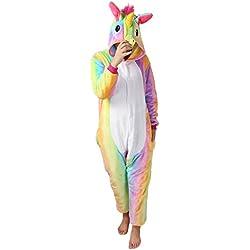 Pigiama Donna Uomo Unicorno Cosplay Animato Costume Camicie da Notte Carnevale Halloween-Très Chic Mailanda (S (per altezza 148-160cm), Arcobaleno unicorno)