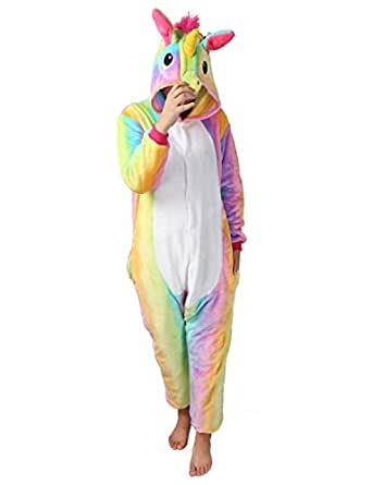 Pigiama Donna Uomo Unicorno Cosplay Animato Costume Camicie da Notte Carnevale Halloween-Très Chic Mailanda (L (per altezza 168-178cm), Arcobaleno unicorno)
