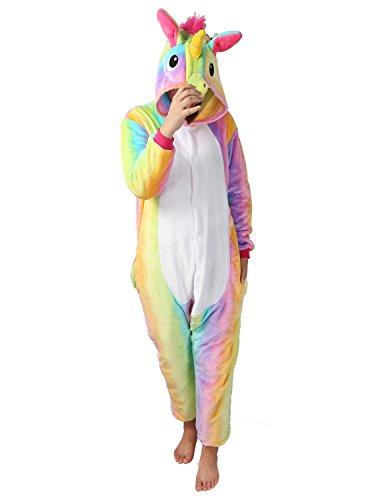 Einhorn Pyjamas Kostüm Jumpsuit Tier Schlafanzug Erwachsene Unisex Fasching Cosplay Karneval (Medium, Gelb 2)