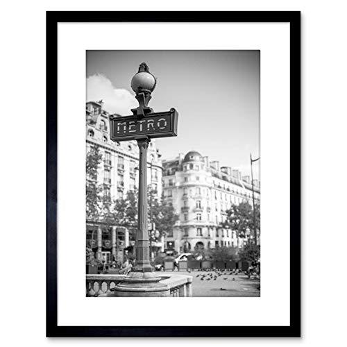 9x7 '' PHOTO LANDMARK METRO SIGN PARIS BLACK WHITE FRAMED ART PRINT F97X820