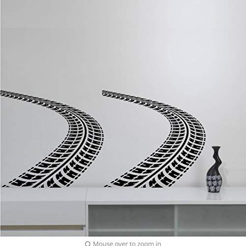 yangyueyue Adesivo murale in PVC Tracce di pneumatici Wall Sticker Auto Car Trace Vinyl Decal Art Road Racing Decorazioni per la casa Casalinghi Ragazzi Room Bedroom120 * 57cm