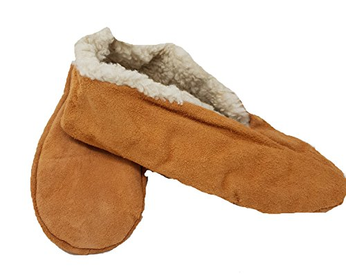 Mum Socken Mokassin-Hausschuhe, Hüttenschuhe, Schluffis, Leder, beige Innenfutter Webfell 35-47 (44)