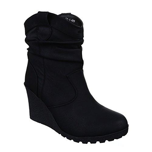 Damen Stiefeletten Stiefel Keilabsatz Wedges Boots Plateau Warm Gefüttert Schuhe B06 (39, Schwarz)