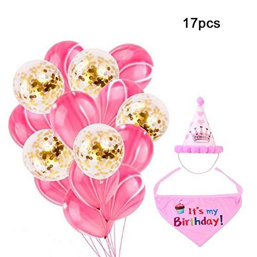 Jadeyuan Kostüm 17pcs Hund Geburtstag Dekoration Set weichen Schal & entzückende Krone Hut, Konfetti Ballon & Achat Ballon for Hund Geburtstagsfeier Lieferungen Bekleidung (Color : Pink) (Hunde Ballon Kostüm)
