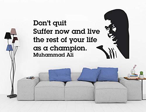 yuandp Muhammad Ali Inspirational Boxing Quote Aufkleber Motivational Gym Vinyl Aufkleber Mode Aufkleber Für Gym Wohnzimmer Wandbild 81 * 42 cm