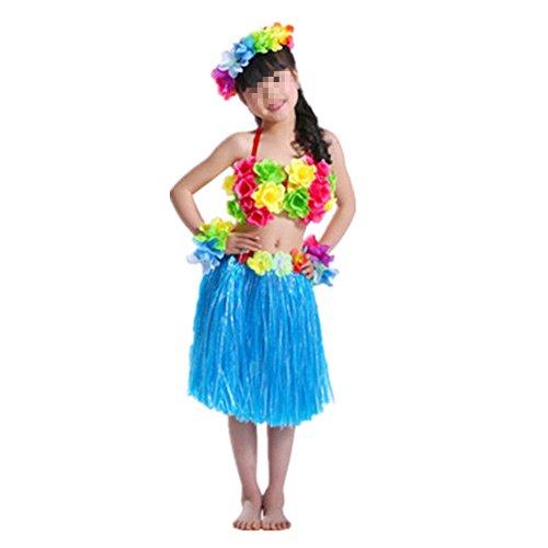 Hawaiano-Vestido-Falda-Hierba-para-Ninas-Guirnaldas-de-flores-5pcs-Accesorios-de-playa-Costume-Disfraces-Azul